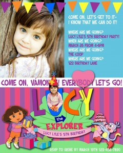 Dora Inspired Invitation
