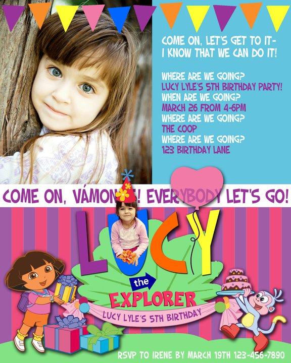 Dora Inspired Invitation